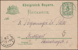 Bayern P 56II/02 Ziffer 5 Pf Grün DV 02: FISCHBACHAU 7.7.02 Nach Stuttgart 8.7. - Bayern