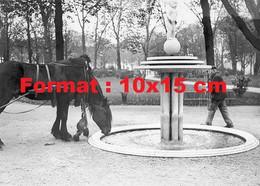 Reproduction D'une Photographie Ancienne D'un Cheval Buvant Dans Une Fontaine Des Jardins Des Champs Elysées En 1930 - Riproduzioni