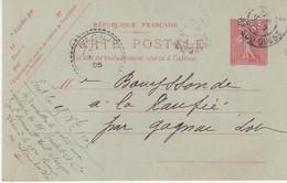 """FRANCE : ENTIER POSTAL .  10 Cts . TYPE SEMEUSE  . CP . PERFORE . """" PO PARIS ORLEANS """" . OBL . TB . 1905 . - Cartoline Postali E Su Commissione Privata TSC (ante 1995)"""