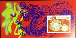 Singapore 2000 Year Of The Dragon Gold Foil Presentation Folder Unused - Singapur (1959-...)