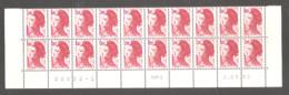 LIBERTE 1982. Bas De Feuille X 20 TP. N°2220** 1 F.80 Rouge- Daté Du 2.09.82 - 8ème Tirage Sur RGR-1. - 1982-90 Vrijheid Van Gandon