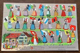 GRUSS VOMSCHWEIZERLAND - SOUVENIR DE LA SUISSE  - COSTUMES SUISSE  E BANDIERE - Roemenië