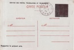 FRANCE : ENTIER POSTAL .  1F20 . TYPE PETAIN . CP . SURCHARGE CARREE NOIRE . UTILISEE EN CORSE . 1944 . - Standaardpostkaarten En TSC (Voor 1995)