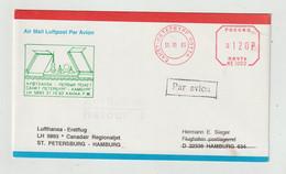 """Russland - 1993 - Erstflugbrief LH 5893 """"St. Petersburg-Hamburg"""" Mit Freistempel Freigemacht (1199) - Storia Postale"""