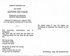 LOKEREN:  ALFONS DE PAGE  °LOKEREN 1934+LOKEREN1991 MEDEOPRICHTER  FONNE-FEESTEN - Godsdienst & Esoterisme