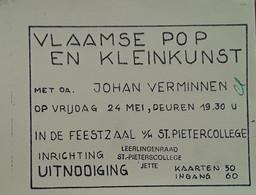 Uitnodiging Vlaamse Pop En Kleinkunst In De Feestzaal Van Het Sint-Pieterscollege Te Jette - Praktisch