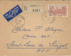 1952- Enveloppe RECC D'ALGER Par Avion Pour Le Sénégal Affr.   50 F.   SEUL - Briefe U. Dokumente