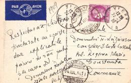 CARTE POSTALE - TIMBRE : CÉRÈS : 3 F. (1938) - ENVOI De VICHY à CONSTANTA / ROUMANIE En JUILLET 1939 - PAR AVION (ah533) - 1927-1959 Lettres & Documents