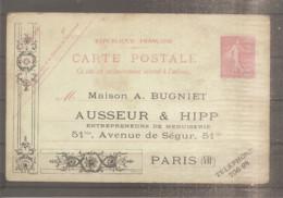 CARTE POSTALE ENTIER POSTAL SEMEUSE 10 CTS N°129 REPIQUAGE MAISON BUGNIET AUSSEUR&HIPP ENTREPRENEUR PARIS 7 - Overprinter Postcards (before 1995)