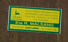 AUTOCOLLANT STICKER - JOHN DEERE - ETS R. MALSANG COTTEUGE SAINT-DIERY - TRACTEURS MATÉRIELS AGRICOLES FERMES - Pegatinas