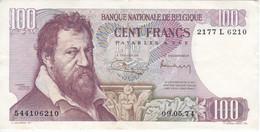 BILLETE DE BELGICA DE 100 FRANCS DEL AÑO 1974  DE LAMBERT LOMBARD  (BANK NOTE) - 100 Franchi