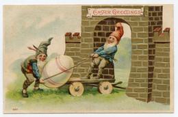 Lutins Transportant Un Gros Oeuf , Gnome, Nain. Carte Gaufrée, Dorure, Gilding. - Fiabe, Racconti Popolari & Leggende