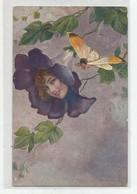 Carte Illustrateur Fleur Voilette Tete De Femme Et Papillon Ed Milano N 4150 Envoyé De Lille 1924 - Andere Zeichner