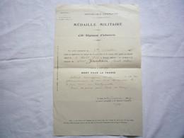 Médaille Militaire 236 è Reg Infanterie Jourdain Joseph Mort Pour La France 1929 - Documenti