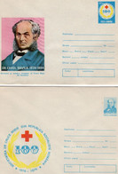ROMANIA 1976: RED CROSS SOCIETY - 100 YEARS, 2 Unused Prepaid Cover 119/1976, 120/1976 - Registered Shipping! - Entiers Postaux