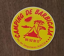 AUTOCOLLANT STICKER - CAMPING DE BARBICAJA - ROUTE DES SANGUINAIRES - AJACCIO - CORSE - Stickers