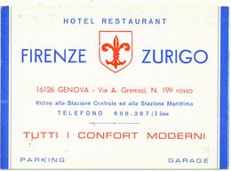 GENOVA - Carte De Visite - Hotel-Restaurant Firenze Zurigo - Italie