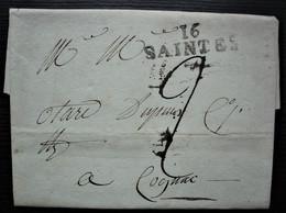Saintes 30 Messidor L'an 11 Marque 38 X 12 Sur Lettre Pour Cognac - 1801-1848: Précurseurs XIX