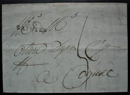 Saintes 24 Ventôse L'an 8 (15 Mars 1800) Marque 26 X 9 Sur Lettre Pour Cognac - 1701-1800: Précurseurs XVIII