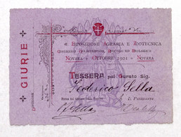 Autografo Federico Sella Tessera Esposizione Agraria E Zootecnica Di Novara 1901 - Autographs