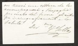 Autografo Di Federico Sella Su Biglietto Da Visita - 1890 Ca. - Autographs