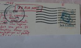 USA - Timbre Oblitéré Jack London 25c Sur Carte Postale De Houston - Sammlungen