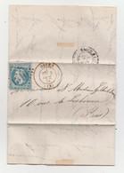 Tentative D'entrée Dans Paris Pendant Le Siège 1870 1871 Au Départ De Dives 03/10/1870 Lettre Avec Correspondance - 1863-1870 Napoléon III Con Laureles