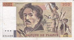 BILLETE DE FRANCIA DE 100 FRANCS DEL AÑO 1985 DE DELACROIX SERIE E (BANKNOTE) - 100 F 1978-1995 ''Delacroix''