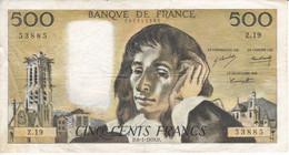 BILLETE DE FRANCIA DE 500 FRANCS DEL 8-1-1970  (BANKNOTE) PASCAL - 500 F 1968-1993 ''Pascal''