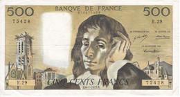 BILLETE DE FRANCIA DE 500 FRANCS DEL 6-1-1972  (BANKNOTE) PASCAL - 500 F 1968-1993 ''Pascal''