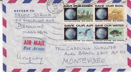 USA. ENVELOPPE CIRCULEE ANNEE 1970, BROOKLINE A MONTEVIDEO, URUGUAY. PAR AVION.- LILHU - Briefe U. Dokumente