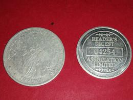 2 MEDAILLES READER'S DIGEST STATUE DE LA LIBERTEE  Bon état Non Nettoyées - Royal/Of Nobility
