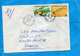 MARCOPHILIE-Cote D'ivoire-lettre- > Françe  Cad 1986-thematic- Stamp-N°675b Rose De Porcelaine+763 Fish - Ivory Coast (1960-...)