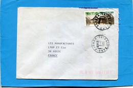 MARCOPHILIE-Cote D'ivoire-lettre- > Françe  CadGAGNOA 1986-thematic- Stamp-N°775 Habitat De Village - Ivory Coast (1960-...)