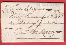 MARQUE 52 VIC MEURTHE ET MOSELLE 1793 POUR SARREBOURG 2 QUEUE 5mm INDICE 17 - 1801-1848: Voorlopers XIX