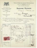 FACTURE-COURRIER- LETTRE : Vins En Gros Adolphe Hamon à Touques, Destinataire Trouville Sur Mer. - 1900 – 1949