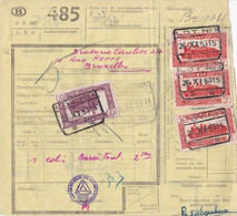 Postcolli - Colis Postaux - 485 - Brasserie Caulier - Bruxelles - 1952-....
