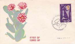 ISRAEL. FLOWERS DAY, JOURNEE DES FLEURS. CACTUS. ANNEE 1957. FDC ENVELOPPE.- LILHU - Sukkulenten