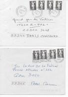 """Enveloppes (1994 -1996) Affranchies Par 4 """"Marianne Du Bicentenaire"""" 0,70 Brun Découpage Rectiligne 1994 Et Ondulé 1996 - Autoadesivi"""