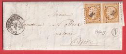 N°13 PAIRE PC 704 CHALONS SUR MARNE BOITE RURALE V POGNY POUR AUVE - 1849-1876: Periodo Classico