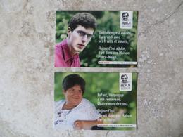 Lot De 2 CPM Publicité  Association Caritative Perce Neige Pour Le Handicap Fondée Par Lino Ventura - Cart' Com - Advertising