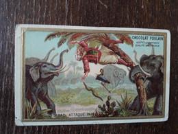 L36/205 CHROMO GAUFFRE CHOCOLAT POULAIN . SIMBAD ATTAQUE PAR LES ELEPHANTS - Poulain