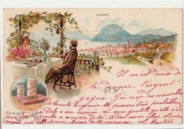 PUBLICITE-Chocolat  Suchard : Lugano DEPART GENEVE  CIRCULEE TBE - Advertising