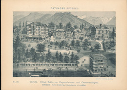 Suisse ---  Paysages  Suisses -- Thoune -- Hotel Bellevue , Dependances Et Jardins    --  1897 - Places