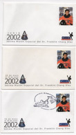 Costa Rica 3 Different FDC Franklin Chang Astronaut NASA STS-111 Mission Aero Space #352 - Costa Rica