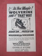 Volverine  Shoe    Gamble Store Nicollet Minn.    Ref  4984 - Advertising