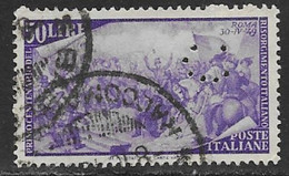 Italy Scott # 505 Used Garibaldi Fighting In Rome,  Perfin,1948 - Used