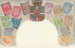 Représentation Du Timbre - Timbres - Danmark Danemark - Carte Gaufrée - Brev Kort - Blason Armoiries Couronne - Stamps (pictures)
