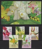 Guatemala (2020) Set + Block /   Flowers - Fleurs - Flora  - Flores - Orchids - Orquidea - Orchidees - Orchidee