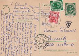 Ganzsache 1952 Heidelberg Nach Biarritz, Taxe - Unclassified